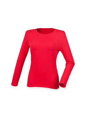 Feel Good Langaermet Stretch T shirt SF124 Bright Roed