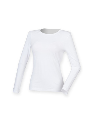 Feel Good Langaermet Stretch T shirt SF124 Hvid