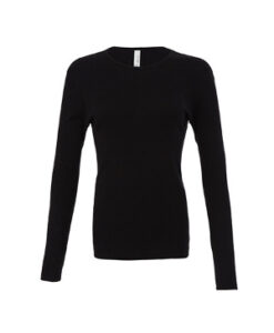 Rib Langaermet Crew Neck T Shirt BL5001 Sort